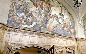 A mural inside an MSU building