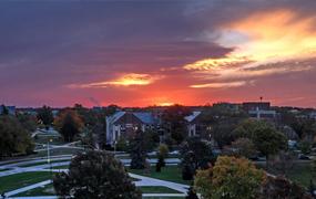 shot of a neighborhood during sunset